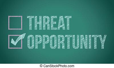 opportunity vs threat illustration design on a blackboard
