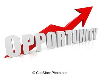 Opportunity with upward red arrow - Rendered artwork with...