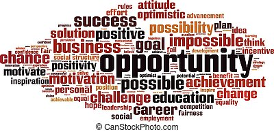 Opportunity word cloud concept. Vector illustration