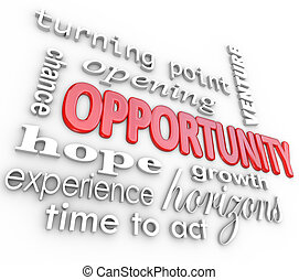A background of 3d words related to opportunity such as turning point, opening, venture, chance, hope, growth, horizons, experience and time to act