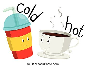 Opposite adjective cold and hot illustration