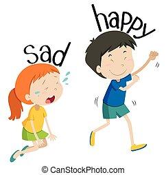Opposite adjective sad and happy illustration