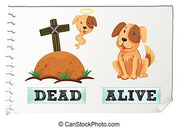 Opposite adjective with dead and alive illustration
