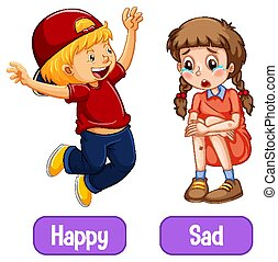 Opposite adjective words with happy and sad illustration