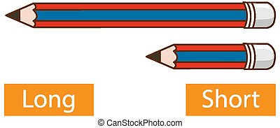 Opposite adjective words with long pencil and short pencil on white background illustration