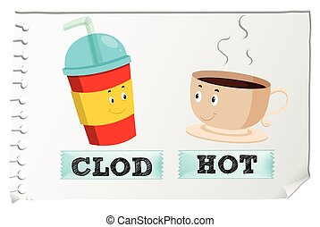 Opposite adjectives cold and hot