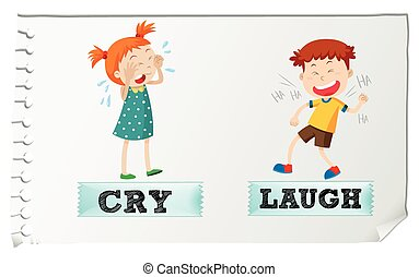 Opposite adjectives cry and laugh illustration