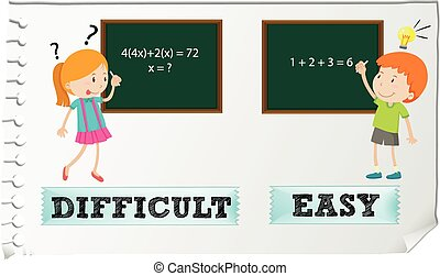 Opposite adjectives difficult and easy illustration