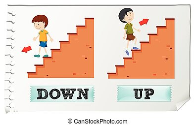 Opposite adjectives down and up illustration
