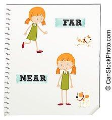 Opposite adjectives far and near illustration