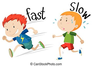 Opposite adjectives fast and slow illustration