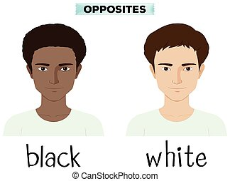 Opposite adjectives for black and white illustration