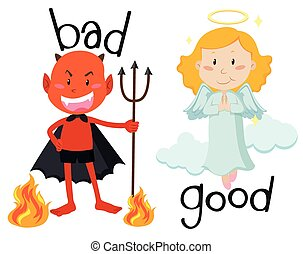 Opposite adjectives good and bad illustration