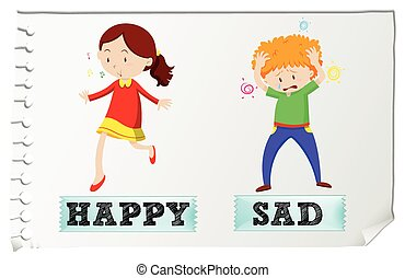 Opposite adjectives happy and sad illustration