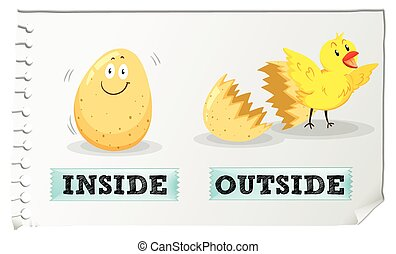 Opposite adjectives inside and outside illustration