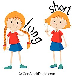 Opposite adjectives long and short illustration