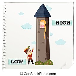 Opposite adjectives low and high illustration