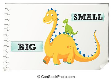 Opposite adjectives with big and small illustration