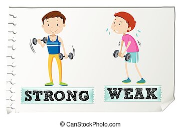 Opposite adjectives with strong and weak illustration