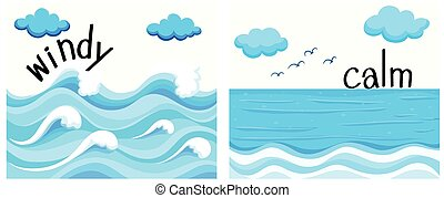 Opposite adjectives with windy and calm illustration