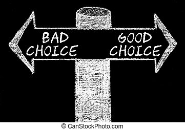 Opposite arrows with Bad Choice versus Good Choice. Hand...