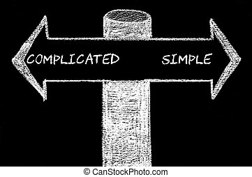 Opposite arrows with Complicated versus Simple