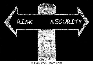 Opposite arrows with Risk versus Security. Hand drawing with...