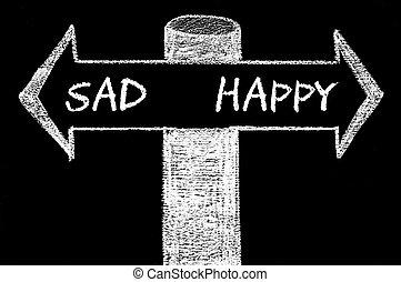 Opposite arrows with Sad versus Happy