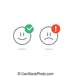 Opposite emotions, smile emoji, sad icon, customer services, feedback survey