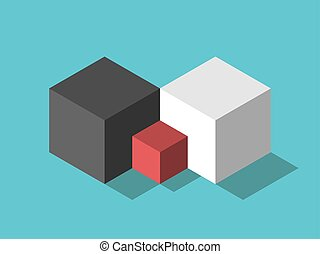 Opposite parents, child cubes - Two isometric big opposite ...