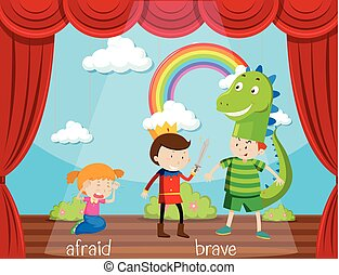 Opposite word for afraid and brave illustration