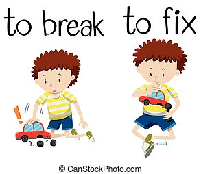 Opposite wordcard for break and fix illustration