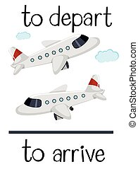 Opposite wordcard for depart and arrive illustration