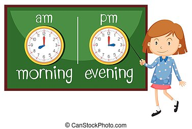 Opposite wordcard for morning and evening illustration