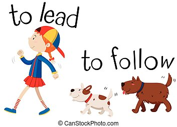 Opposite wordcard for to lead and to follow illustration