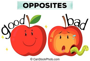Opposite wordcard with good and bad illustration
