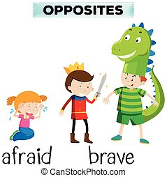 Opposite words for afraid and brave illustration