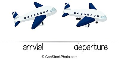 Opposite words for arrival and departure illustration