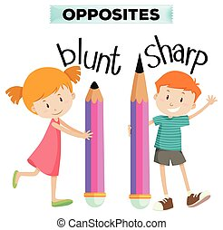 Opposite words for blunt and sharp illustration