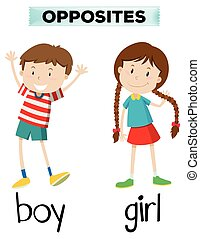 Opposite words for boy and girl illustration