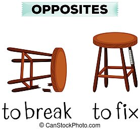 Opposite words for break and fix illustration