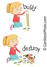 Opposite words for build and destroy illustration