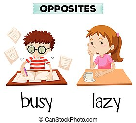 Opposite words for busy and lazy illustration