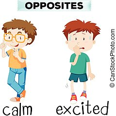 Opposite words for calm and excited illustration