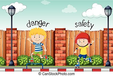 Opposite words for danger and safety illustration