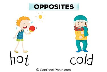 Opposite words for hot and cold illustration
