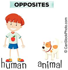 Opposite words for human and animal illustration