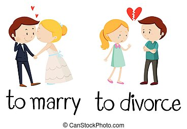 Opposite words for marry and divorce illustration