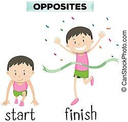 Opposite words for start and finish illustration
