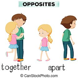 Opposite words for together and apart illustration